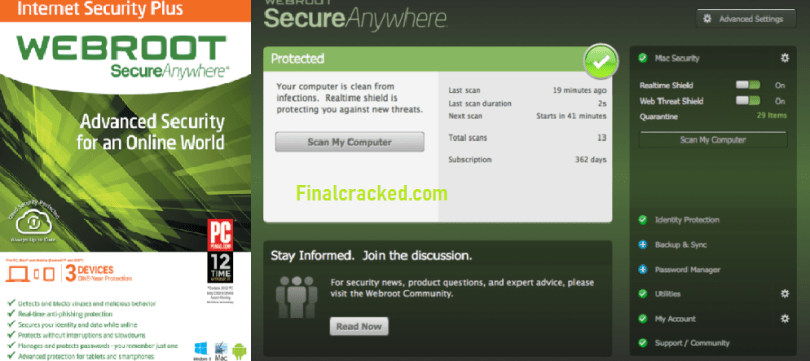 Webroot SecureAnyWhere Antivirus 2020 Crack Full Activation key